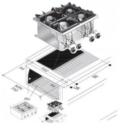 Combisteel Gas Kookunit | Drop in | 4 Branders | 18 kW | 600x600x(H)270mm