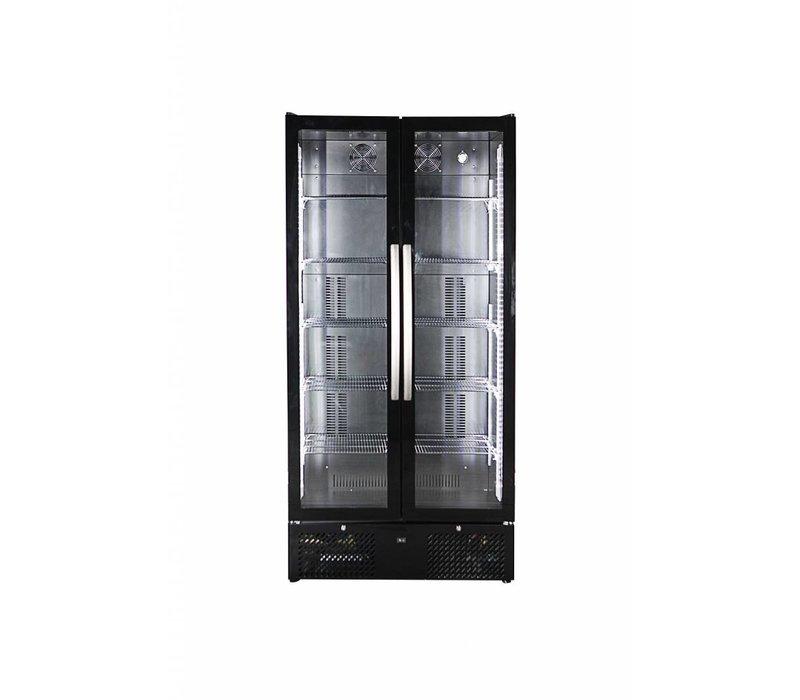 Combisteel Barkoeler Zwart | Hoog Model | Glazen Deur | 458 Liter | 900x515x(H)1820mm