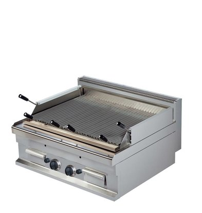 Combisteel Base 700 Lavastone grill Ribbed | Gas | 2 x 7 kW | 800x700x (H) 290mm
