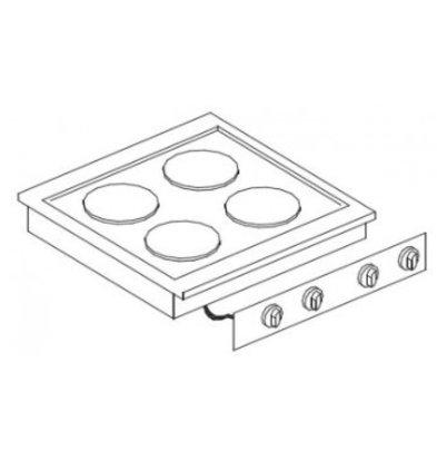 Combisteel Elektrische Kookunit | Drop in | 4 Platen | 8,2 kW | 600x600x(H)260mm