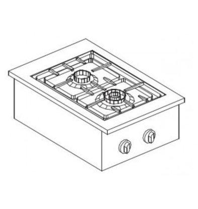 Combisteel Gas Kookunit | Drop in | 2 Branders | 9 kW | 400x600x(H)270mm