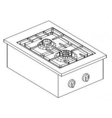 Combisteel Gas Kookunit | Drop in | 2 Branders | 7 kW | 400x600x(H)270mm