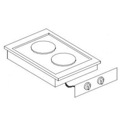 Combisteel Elektrische Kookunit | Drop in | 2 Platen | 4,1 kW | 400x600x(H)260mm