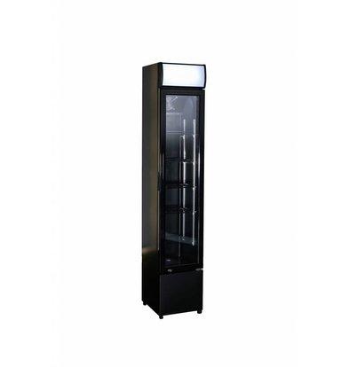 Combisteel Display Koelkast Zwart | Glazen Deur | 105 Liter | Smal Model | 360x422x(H)1880mm