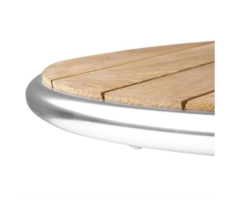 Bolero Inklapbare Horeca Tafel - Frame Aluminium - met Essen Hout Bovenblad - 72(H)x60(Ø)cm