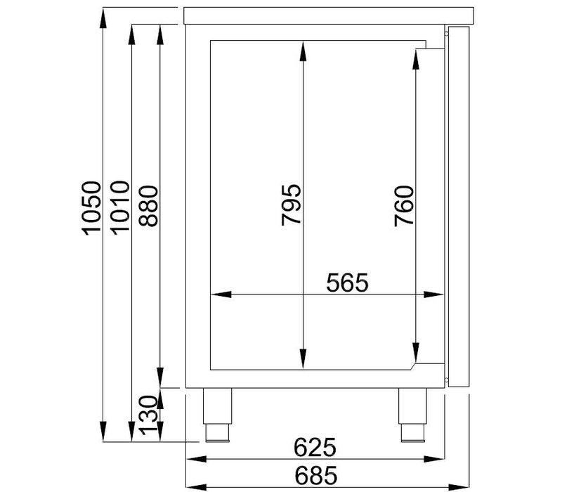 Combisteel Bierkoeler 3 Deurs | Dubbele Spoelbak (300x500mm) Links | 1950x700x(H)960mm