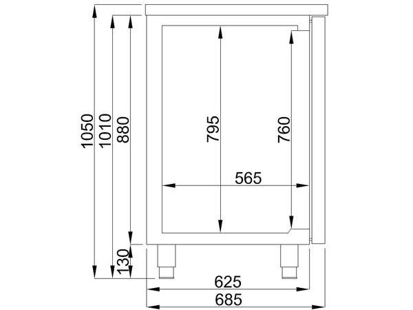 Combisteel Bierkoeler 3 Deurs   Spoelbak (300x500mm) Links   2100x700x(H)960mm