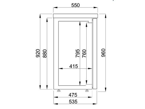 Combisteel Barkoelkast Zwart | 2 Glazen Deuren | 320 Liter | 1380x550x(H)950mm