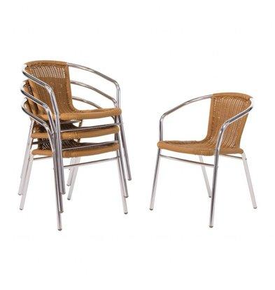 Bolero Stackable natürliche Rattan Chair - Wetterfest - Preis für 4 Stück
