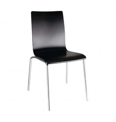 XXLselect Chair Black with Back Square | Stackable | 4 pieces