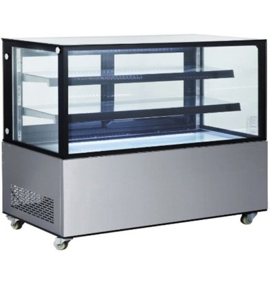 Hendi Mobile Refrigerated display case 2 Glass Shelves | Sliding Doors Back | Available in 4 sizes