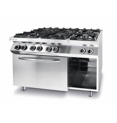 Hendi Gasfornuis Kitchen Line    6 Pits   3 x 3,5 kW + 3 x 6 kW    3 kW hetelucht Oven   1200x700x(H)900mm