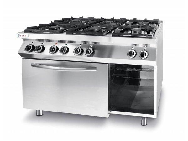 Hendi Gasfornuis Kitchen Line |  6 Pits | 3 x 3,5 kW + 3 x 6 kW |  3 kW hetelucht Oven | 1200x700x(H)900mm