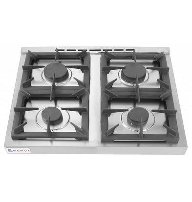 Hendi Gasfornuis Kitchen Line    4 Pits   2 x 3,5 kW + 2x 6 kW    3 kW hetelucht Oven   800x700x(H)900mm
