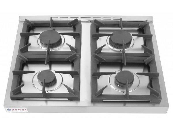 Hendi Gasfornuis Kitchen Line |  4 Pits | 2 x 3,5 kW + 2x 6 kW |  3 kW hetelucht Oven | 800x700x(H)900mm