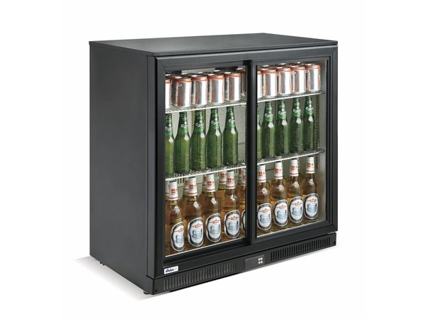 Hendi Barkoelkast Glazen Schuifdeuren | 228 Liter | Gehard Glas | 900x500x(H)900mm