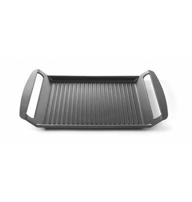 Hendi Aluminium Grillplaat   Geschikt voor Inductiekookplaten   Anti aanbaklaag   390x260x(H)35mm