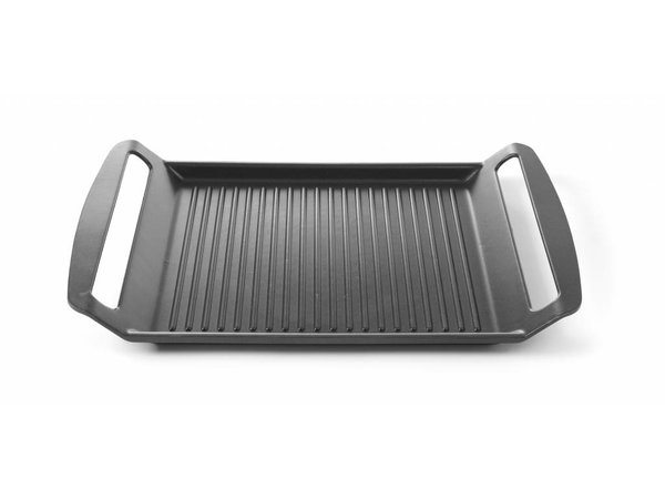 Hendi Aluminium Grillplaat | Geschikt voor Inductiekookplaten | Anti aanbaklaag | 390x260x(H)35mm