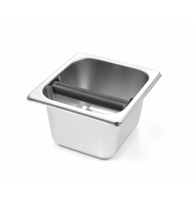 Hendi Tapping tray 1/6 GN 100mm | Stainless Steel Bin | Knocker With Silicone Cover