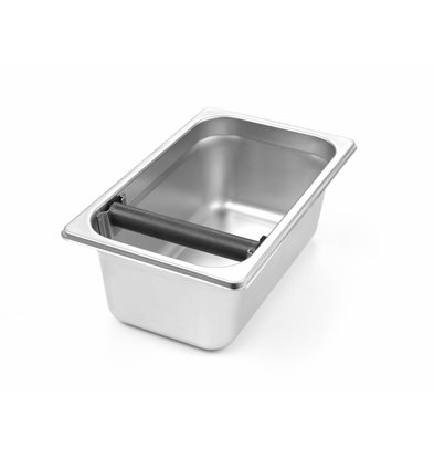 Hendi whipping tray 1/4 GN 100mm | Stainless Steel Bin | Knocker With Silicone Cover