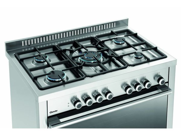 Bartscher Gasfornuis Met Elektrische Oven   11,3 kW   5 Kookzones   900x600x(H)900mm