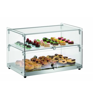 Bartscher Glass Buffet Display Case 2 Floors Lockable Door | 550x375x (H) 370mm