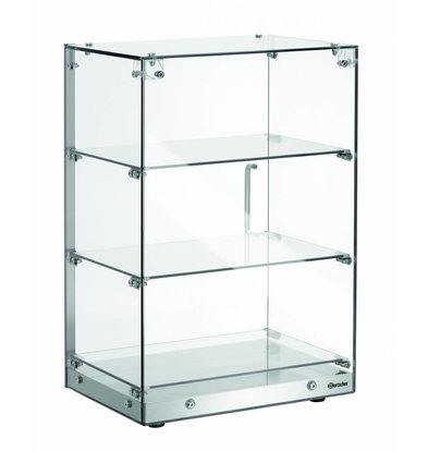 Bartscher Glass Buffet Display Case 3 Floors Lockable Door | 405x335x (H) 620mm
