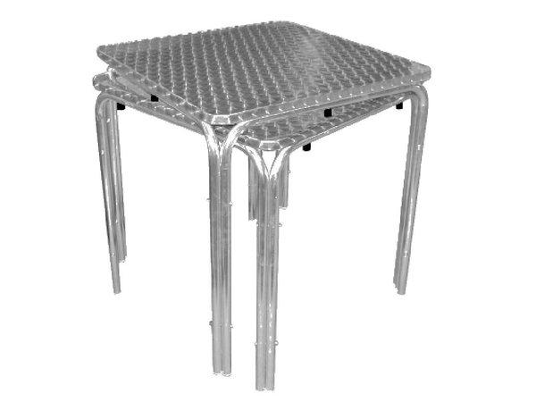 Bolero Opstapelbare Tafel RVS - Aluminium Frame - RVS Bovenblad - 72(H)x70x70cm