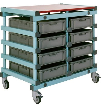 REA REA Voorbereidingstafel | 10x 600x400mm bakken | Kunststof Wielen | 996x660x(H)980mm