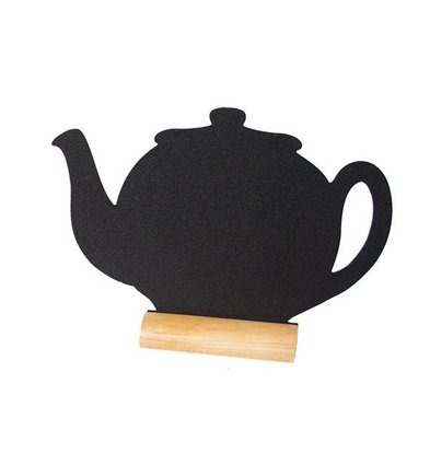 Securit Chalkboard Table Wood Silhouette Teapot Incl. Chalk Stift