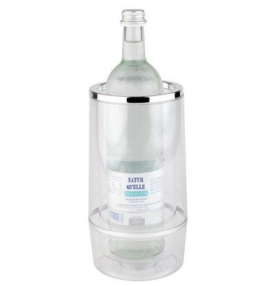 APS FSE Bottle Cooler Double-walled - Transparent Acrylic + Chrome Rim - Ø 12 cm x 23 (H) cm - GIFT BOX