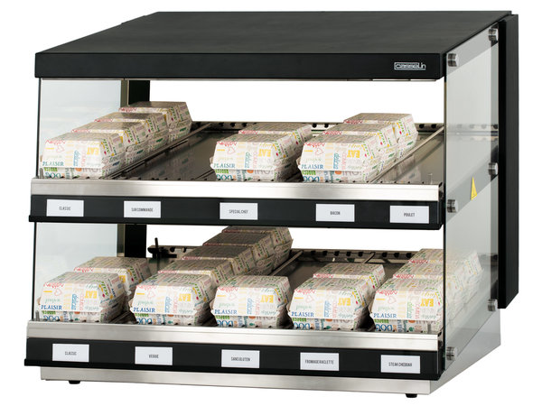 Casselin Burger Warmhoudvitrine | UV Lamp verwarming 30 tot 90°C | 800x640x(H)685mm