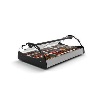 SAYL Maxiself Warmhoudvitrine | LED Verlichting | Geschikt voor 2x 1/1GN 65mm | Self Service | 1020x650x320mm