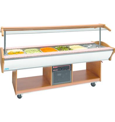 Saro Saladebar koel 6x1/1GN Walnoot - 2 jaar garantie