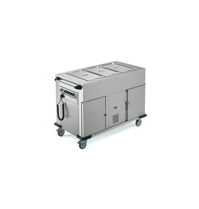 Rieber Voedseltransportwagen | Verwarmde Kast/ Gekoelde Kast | Extra Warmhoudbakken Boven | 1314x680x(H)900mm