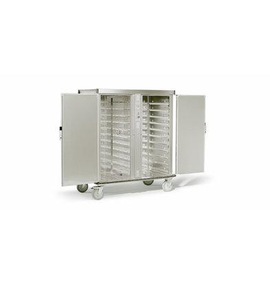 Rieber Dubbele Banketwagen 2 x 2/1 GN verwarmd | 2900W | 1490x837x(H)1712mm | Geschikt voor 11 of 18 GN2/1 Roosters