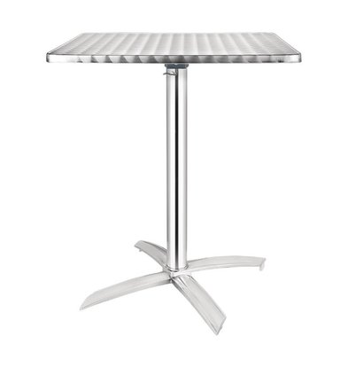 Bolero Bistro table Square - Aluminium Frame - Stainless steel Worktop - 72 (H) x60x60cm