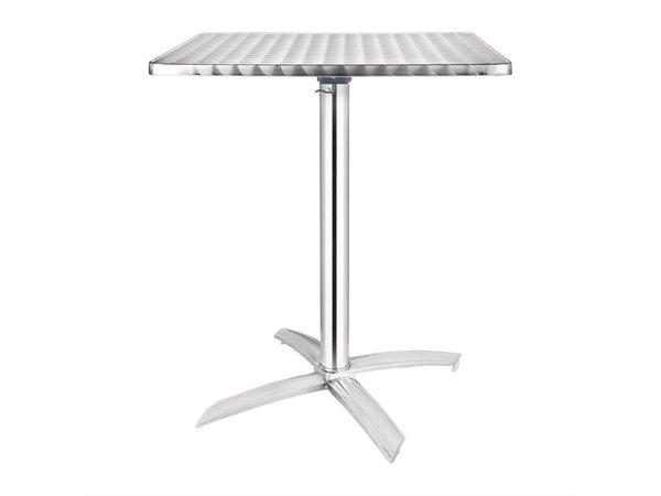 Bolero Bistro Tafel Vierkant - Aluminium Frame - RVS Bovenblad - 72(H)x60x60cm