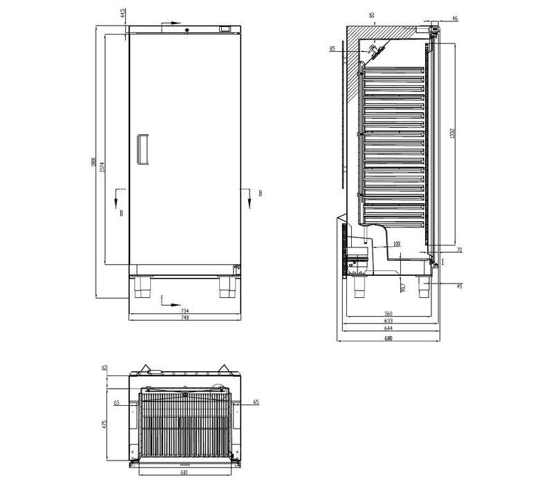 Combisteel Bakkerskoelkast RVS + ABS | 265 Liter | Geschikt voor 600x400mm | 740x680x(H)1800mm