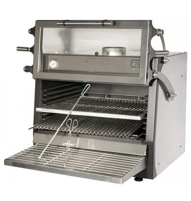 Diamond RVS Houtskool Oven BBQ   GN1/1+ GN2/4   75kg/h   Hefbare Deur   900x722/953x(H)690/840mm