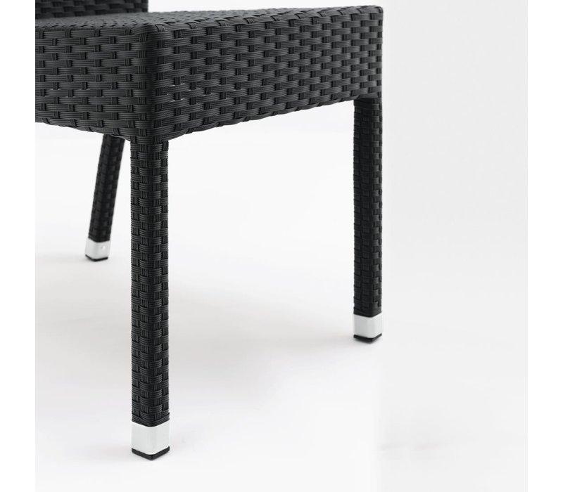 Bolero Rotan Stoel Kunststof - Zwart - Stapelbaar - Prijs per 4 stuks
