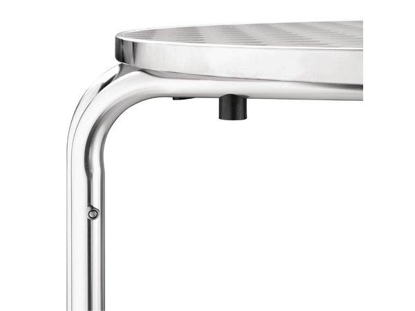 Bolero Bistrotafel Rond Aluminium Frame - RVS Bovenblad - 72(H)x70(Ø)cm