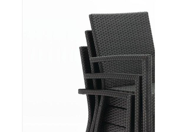 Bolero Kunststof rotan stoel zwart/antraciet - 4 stuks