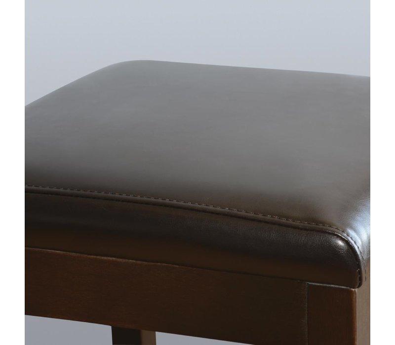 Bolero Kunstlederen Barkruk zonder Leuning - Donkerbruin met Houten Frame - Zithoogte 760mm - Prijs per 2 Stuks