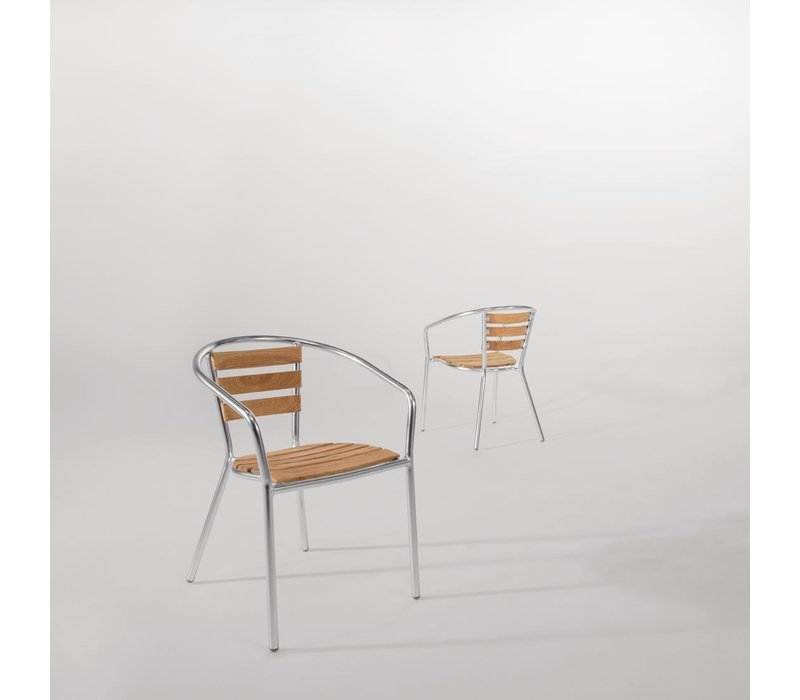 Bolero Stapelbare Stoel van Aluminium + Zitting van Essenhout - Prijs per 4 stuks