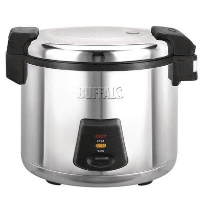 Buffalo Rijstkoker RVS - 33 Porties Rijst per Kook + Maatbeker + Rijstlepel - 13 L gekookte rijst - 6L droge rijst