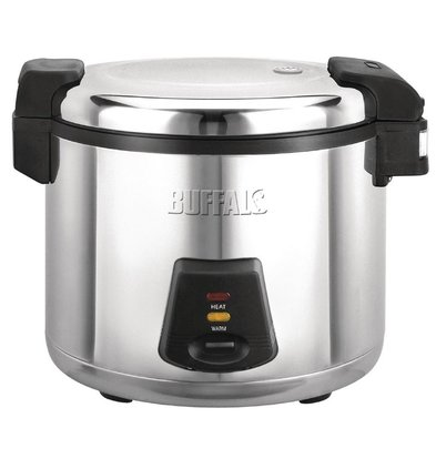 Buffalo Stainless steel rice cooker - 33 Servings of Rice per Boil + Measuring cup + Rice spoon - 13 L cooked rice - 6L dry rice