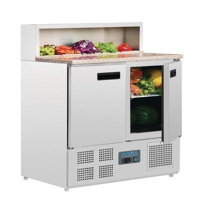 Polar Pizzawerkbank - RVS - 2 deurs - 90x70x(h)110cm - Met 5x 1/6 GN