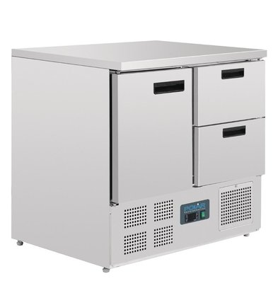 Polar Koelwerkbank - RVS - 90x70x85(h)cm - 1 deur+2 laden - Wielen
