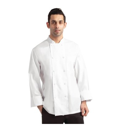 Chef Works Chef's jacket Calgary Cool Vent White | Unisex | Fabric Buttons Long Sleeves Available in 6 sizes